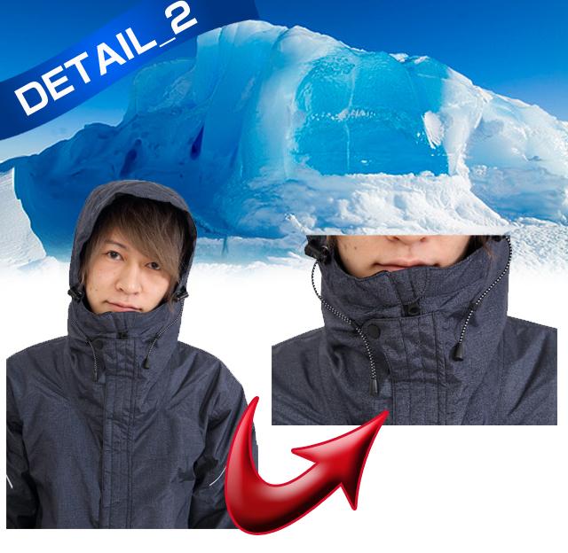 耐水圧10000mm!暖かさ際立つ防水防寒つなぎディテール01