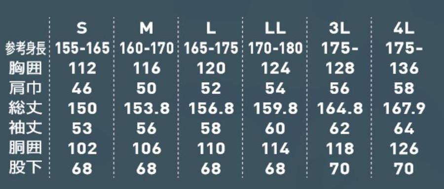 空調つなぎサイズ表