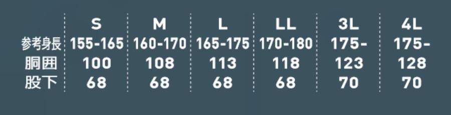 空調サロペットサイズ表